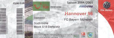 Eintrittskarte Hannover 96 gegen Bayern München